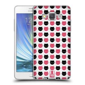 Silikonové pouzdro na mobil Samsung Galaxy A5 HEAD CASE KOČKY Black and Pink