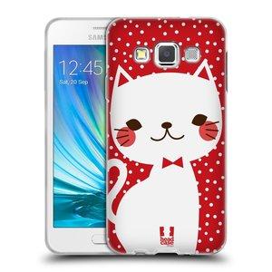 Silikonové pouzdro na mobil Samsung Galaxy A3 HEAD CASE KOČIČKA BÍLÁ NA ČERVENÉ