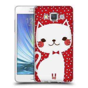 Silikonové pouzdro na mobil Samsung Galaxy A5 HEAD CASE KOČIČKA BÍLÁ NA ČERVENÉ