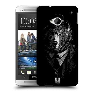 Plastové pouzdro na mobil HTC ONE M7 HEAD CASE MEDVĚD V KVÁDRU