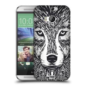 Plastové pouzdro na mobil HTC ONE M8 HEAD CASE DOODLE TVÁŘ VLK