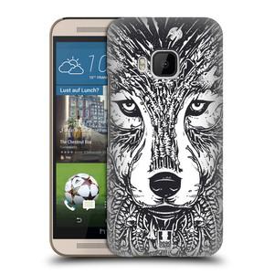 Plastové pouzdro na mobil HTC ONE M9 HEAD CASE DOODLE TVÁŘ VLK