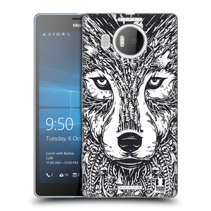 Silikonové pouzdro na mobil Microsoft Lumia 950 XL HEAD CASE DOODLE TVÁŘ VLK