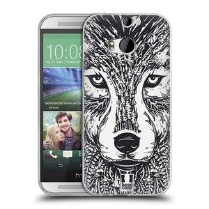 Silikonové pouzdro na mobil HTC ONE M8 HEAD CASE DOODLE TVÁŘ VLK