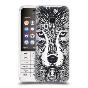 Silikonové pouzdro na mobil Nokia 220 HEAD CASE DOODLE TVÁŘ VLK