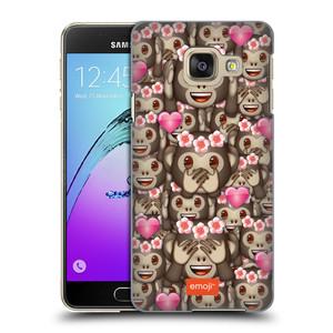 Plastové pouzdro na mobil Samsung Galaxy A3 (2016) HEAD CASE EMOJI - Opičky, srdíčka a kytičky