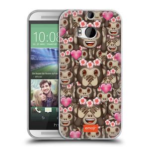 Silikonové pouzdro na mobil HTC ONE M8 HEAD CASE EMOJI - Opičky, srdíčka a kytičky