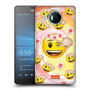 Plastové pouzdro na mobil Microsoft Lumia 950 XL HEAD CASE EMOJI - Mrkající smajlíci a kytičky