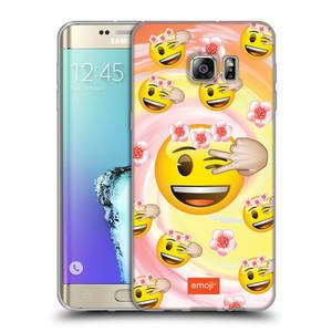 Silikonové pouzdro na mobil Samsung Galaxy S6 Edge Plus HEAD CASE EMOJI - Mrkající smajlíci a kytičky