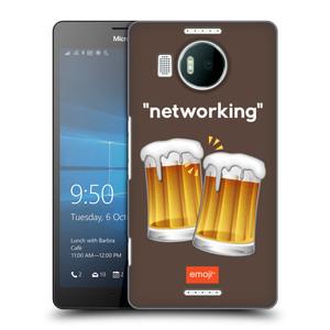 Plastové pouzdro na mobil Microsoft Lumia 950 XL HEAD CASE EMOJI - Pivní networking