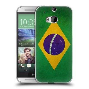 Silikonové pouzdro na mobil HTC ONE M8 HEAD CASE VLAJKA BRAZÍLIE