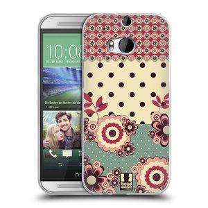 Silikonové pouzdro na mobil HTC ONE M8 HEAD CASE KVÍTKA PINK CREAM