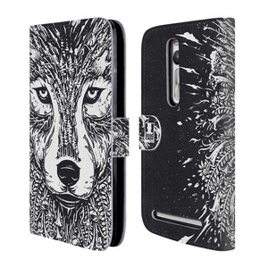 Flipové pouzdro na mobil Asus ZenFone 2 ZE551ML HEAD CASE Doodle tvář vlk