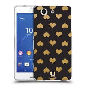 Silikonové pouzdro na mobil Sony Xperia Z3 Compact D5803 HEAD CASE ZLATÁ SRDÍČKA