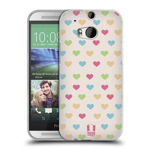 Silikonové pouzdro na mobil HTC ONE M8 HEAD CASE SRDÍČKA BAREVNÁ