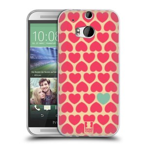Silikonové pouzdro na mobil HTC ONE M8 HEAD CASE SRDÍČKA RŮŽOVÁ