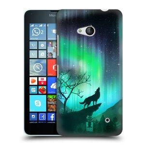 Plastové pouzdro na mobil Microsoft Lumia 640 HEAD CASE POLÁRNÍ ZÁŘE VLK