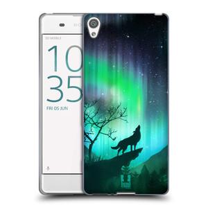 Silikonové pouzdro na mobil Sony Xperia XA HEAD CASE POLÁRNÍ ZÁŘE VLK