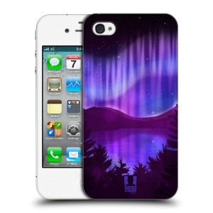 Plastové pouzdro na mobil Apple iPhone 4 a 4S HEAD CASE Polární Záře Nad Jezerem