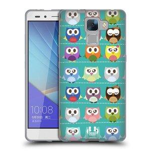 Silikonové pouzdro na mobil Honor 7 HEAD CASE SOVIČKY ZELENÉ