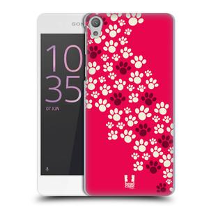 Plastové pouzdro na mobil Sony Xperia E5 HEAD CASE TLAPKY RŮŽOVÉ