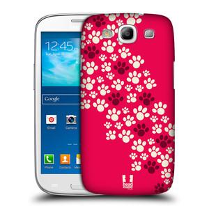 Plastové pouzdro na mobil Samsung Galaxy S III HEAD CASE TLAPKY RŮŽOVÉ