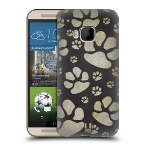 Plastové pouzdro na mobil HTC ONE M9 HEAD CASE TLAPKY ŠEDÉ