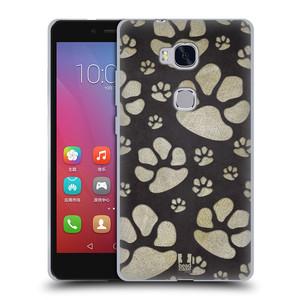 Silikonové pouzdro na mobil Honor 5X HEAD CASE TLAPKY ŠEDÉ