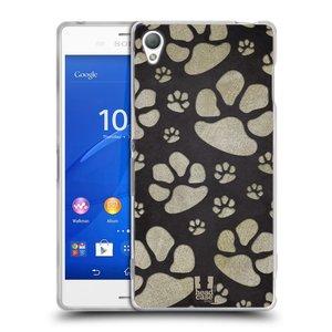 Silikonové pouzdro na mobil Sony Xperia Z3 D6603 HEAD CASE TLAPKY ŠEDÉ
