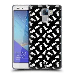 Silikonové pouzdro na mobil Honor 7 HEAD CASE KOČKY BÍLÉ