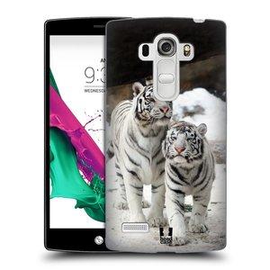 Plastové pouzdro na mobil LG G4s HEAD CASE BÍLÍ TYGŘI