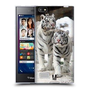Silikonové pouzdro na mobil Blackberry Leap HEAD CASE BÍLÍ TYGŘI