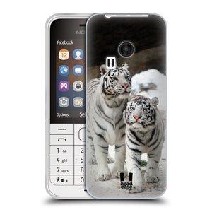 Silikonové pouzdro na mobil Nokia 220 HEAD CASE BÍLÍ TYGŘI