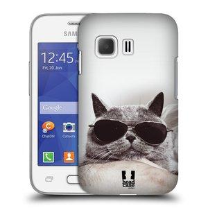 Plastové pouzdro na mobil Samsung Galaxy Young 2 HEAD CASE KOTĚ S BRÝLEMI
