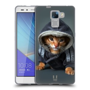 Silikonové pouzdro na mobil Honor 7 HEAD CASE KOTĚ V MIKČE