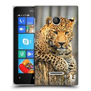 Plastové pouzdro na mobil Microsoft Lumia 435 HEAD CASE DIVOČINA – LEOPARD