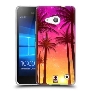 Silikonové pouzdro na mobil Microsoft Lumia 550 HEAD CASE PALMY RŮŽOVÉ