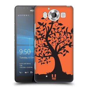 Plastové pouzdro na mobil Microsoft Lumia 950 HEAD CASE SPLETITÝ STROM ORANŽOVÝ