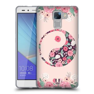 Silikonové pouzdro na mobil Honor 7 HEAD CASE Yin a Yang Floral