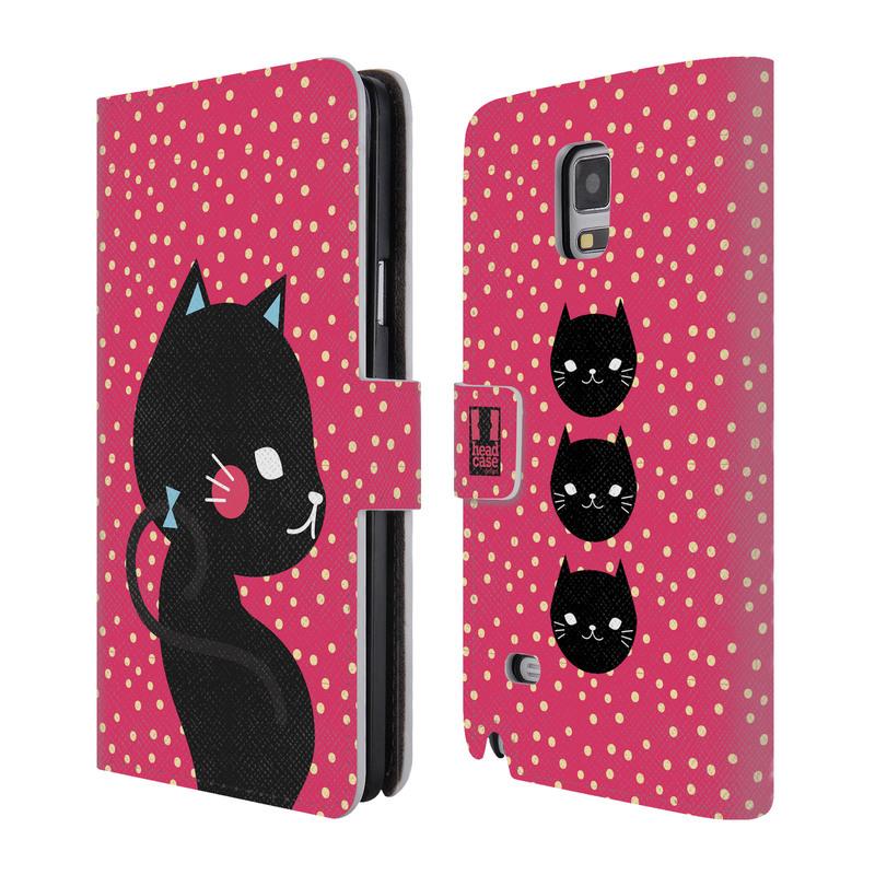 Flipové pouzdro na mobil Samsung Galaxy Note 4 HEAD CASE Kočička černá na růžové (Flipový vyklápěcí kryt či obal z umělé kůže na mobilní telefon Samsung Galaxy Note 4 SM-N910)