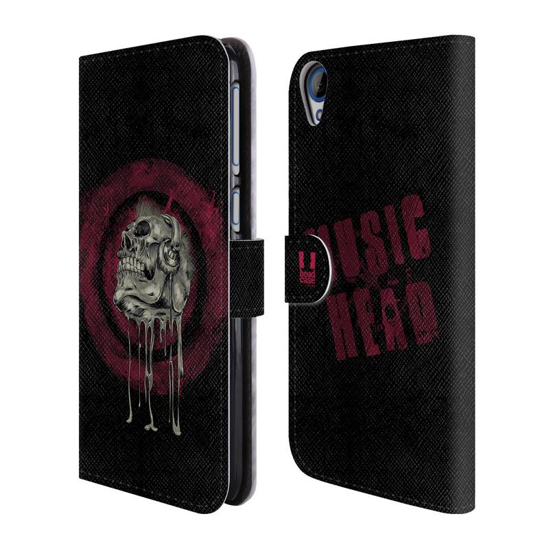 Flipové pouzdro na mobil HTC Desire 820 HEAD CASE Rocková lebka (Flipový vyklápěcí kryt či obal z umělé kůže na mobilní telefon HTC Desire 820)