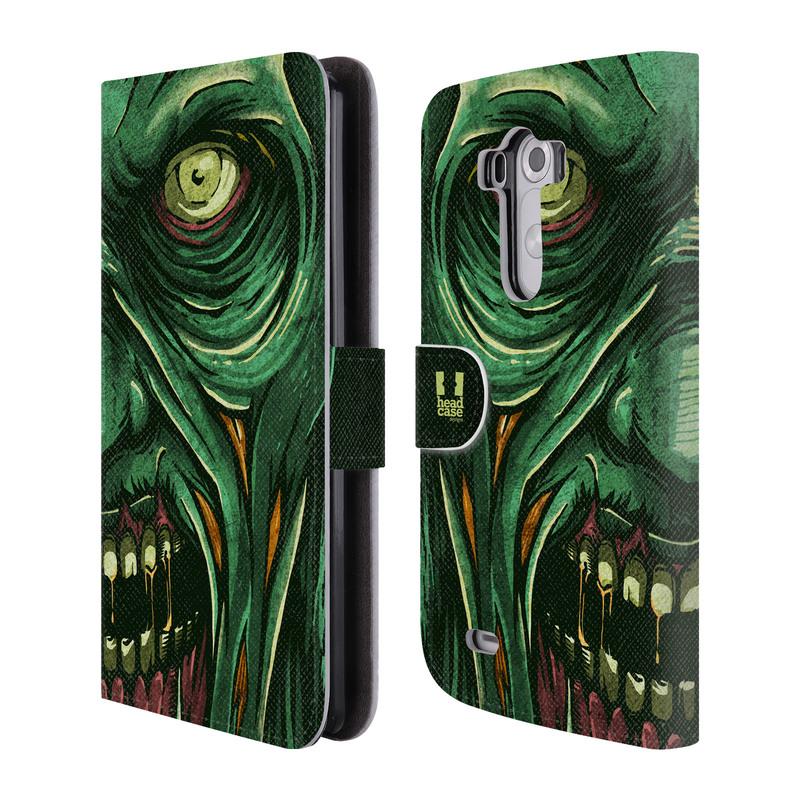 Flipové pouzdro na mobil LG G3 HEAD CASE Zombie tvář (Flipový vyklápěcí kryt či obal z umělé kůže na mobilní telefon LG G3 D855)