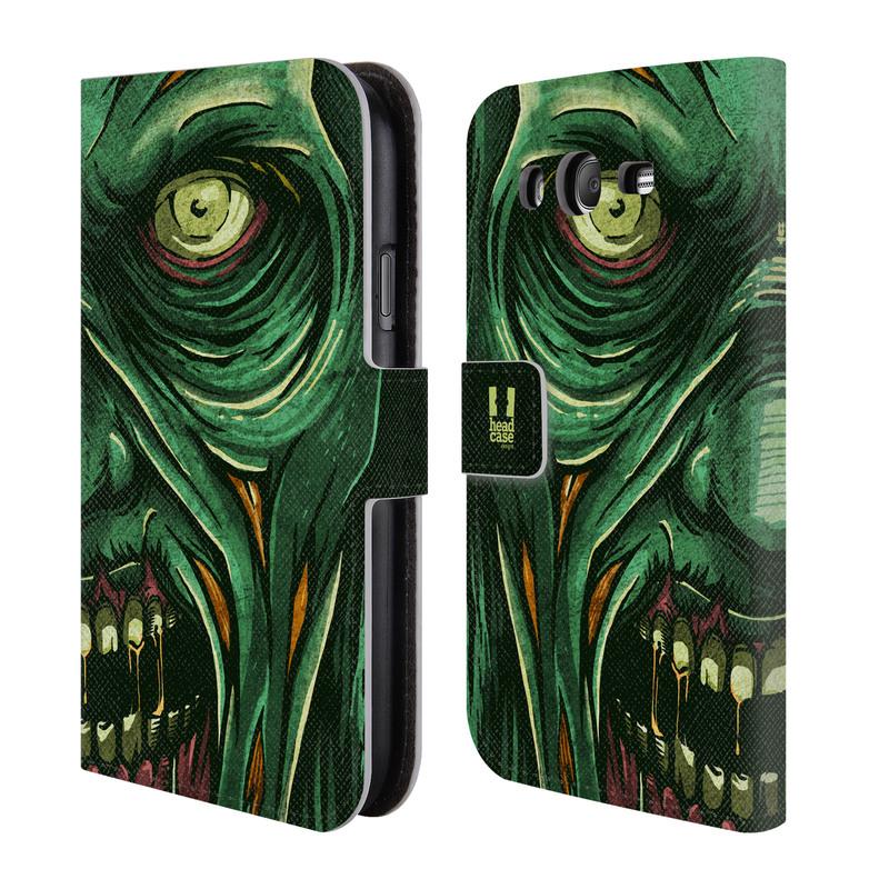 Flipové pouzdro na mobil Samsung Galaxy Grand Neo Plus HEAD CASE Zombie tvář (Flipový vyklápěcí kryt či obal z umělé kůže na mobilní telefon Samsung Galaxy Grand Neo Plus Duos GT-I9060I)