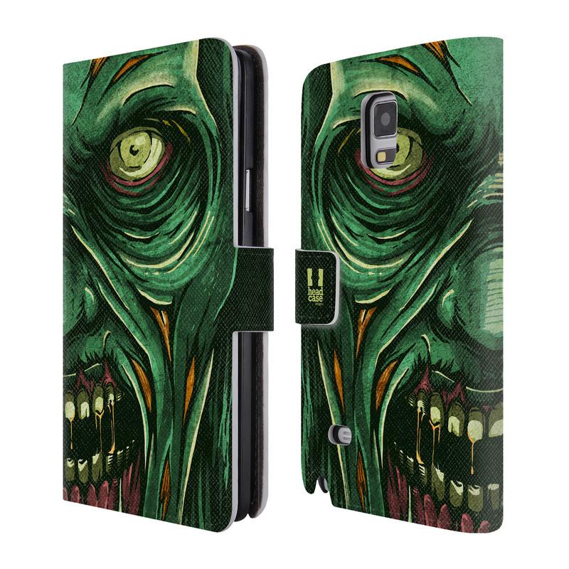 Flipové pouzdro na mobil Samsung Galaxy Note 4 HEAD CASE Zombie tvář (Flipový vyklápěcí kryt či obal z umělé kůže na mobilní telefon Samsung Galaxy Note 4 SM-N910)