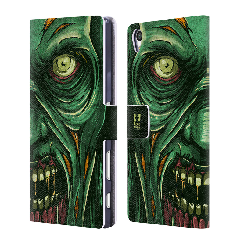 Flipové pouzdro na mobil Sony Xperia Z5 Premium HEAD CASE Zombie tvář (Flipový vyklápěcí kryt či obal z umělé kůže na mobilní telefon Sony Xperia Z5 Premium)