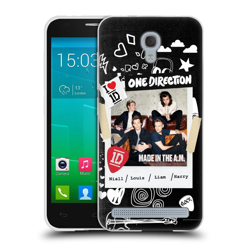 Silikonové pouzdro na mobil Alcatel One Touch Idol 2 Mini S 6036Y HEAD CASE One Direction - S kytárou (Silikonový kryt či obal One Direction Official na mobilní telefon Alcatel Idol 2 Mini S OT-6036Y)