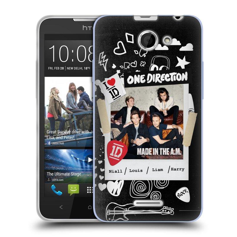 Silikonové pouzdro na mobil HTC Desire 516 HEAD CASE One Direction - S kytárou (Silikonový kryt či obal One Direction Official na mobilní telefon HTC Desire 516 Dual SIM)