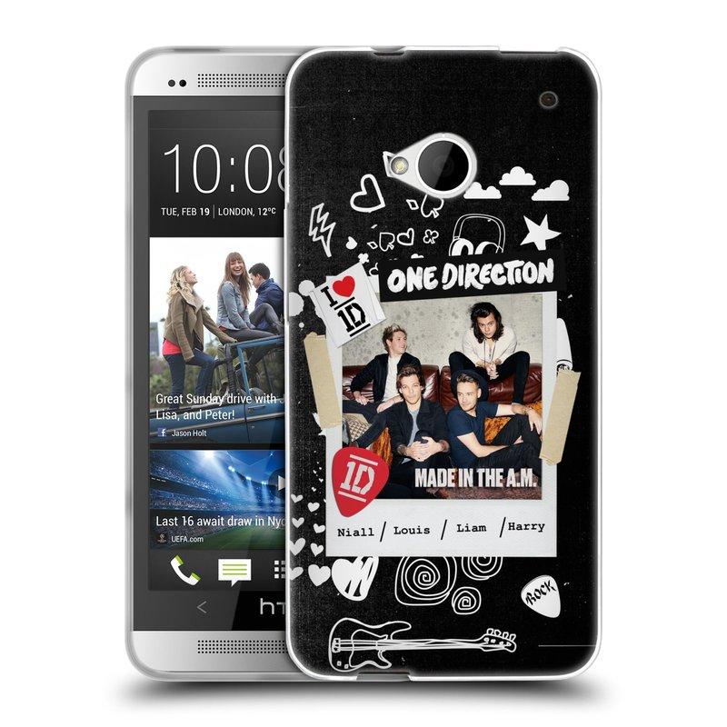 Silikonové pouzdro na mobil HTC ONE M7 HEAD CASE One Direction - S kytárou (Silikonový kryt či obal One Direction Official na mobilní telefon HTC ONE M7)