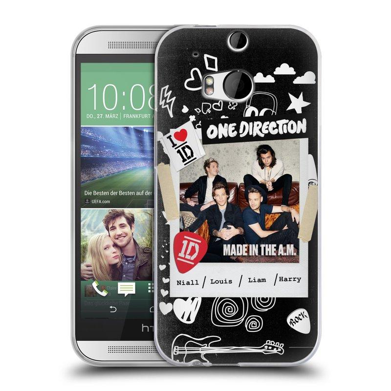 Silikonové pouzdro na mobil HTC ONE M8 HEAD CASE One Direction - S kytárou (Silikonový kryt či obal One Direction Official na mobilní telefon HTC ONE M8)