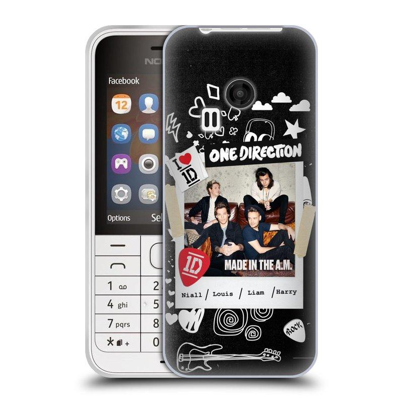 Silikonové pouzdro na mobil Nokia 220 HEAD CASE One Direction - S kytárou (Silikonový kryt či obal One Direction Official na mobilní telefon Nokia 220 a 220 Dual SIM)